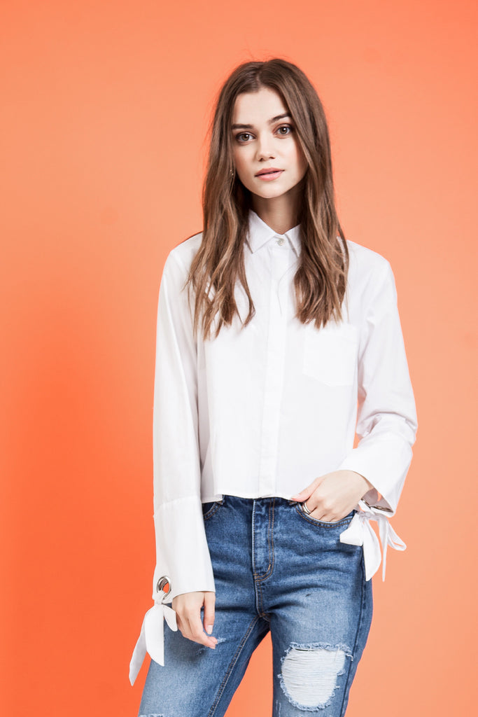 WIDE CUFFS CROP SHIRT