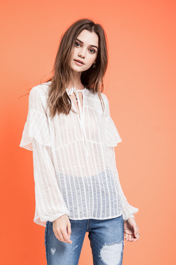 LAYERED SLEEVE SHEER BLOUSE