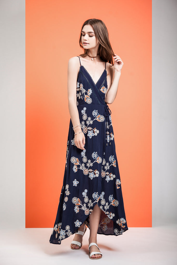 WRAP STYLE EMBROIDERED MAXI DRESS