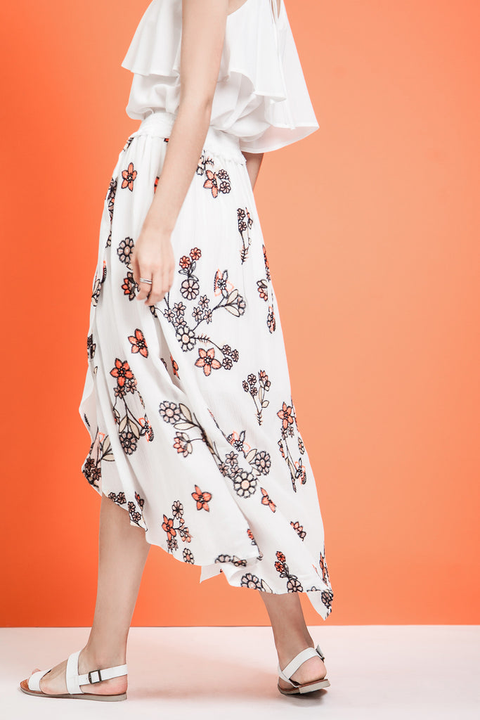 WRAP STYLE EMBROIDERED MIDI SKIRT