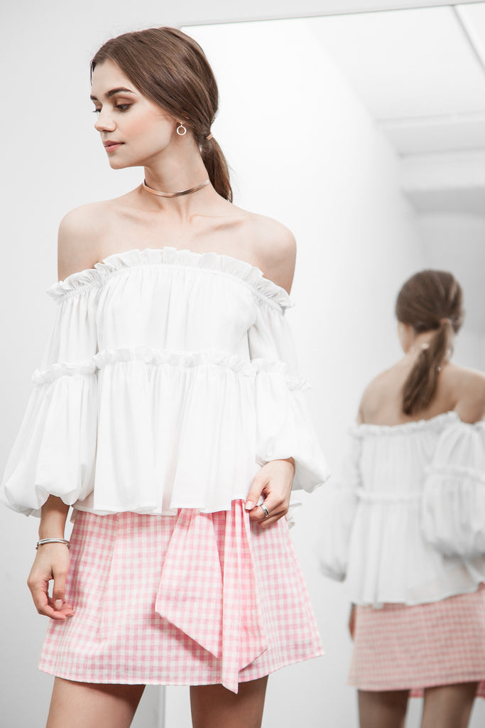 OFF THE SHOULDER CRINKLED RUFFLE TOP