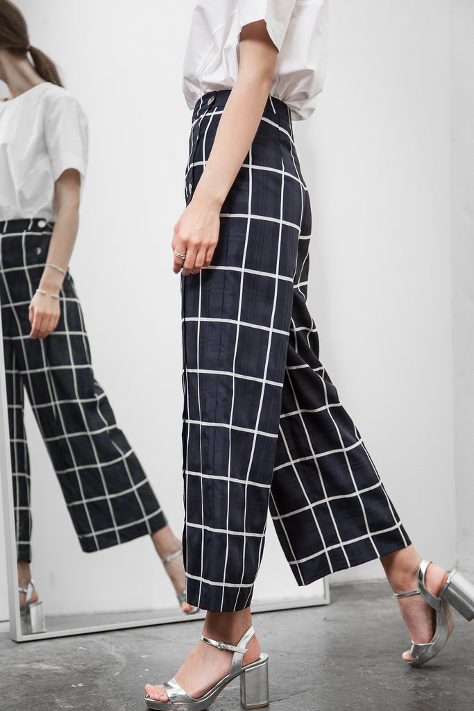 BUTTON DOWN PLAID WIDE-LEG PANTS
