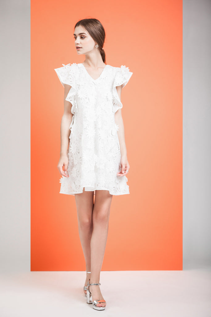 SIDE RIBBON DETAIL LACE DRESS