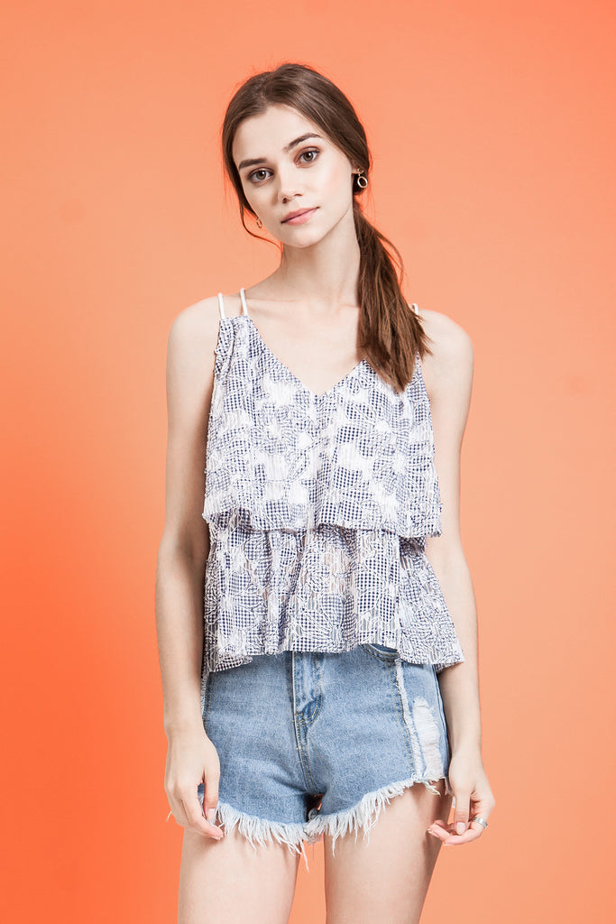 LAYERED FLORAL-LACE TOP