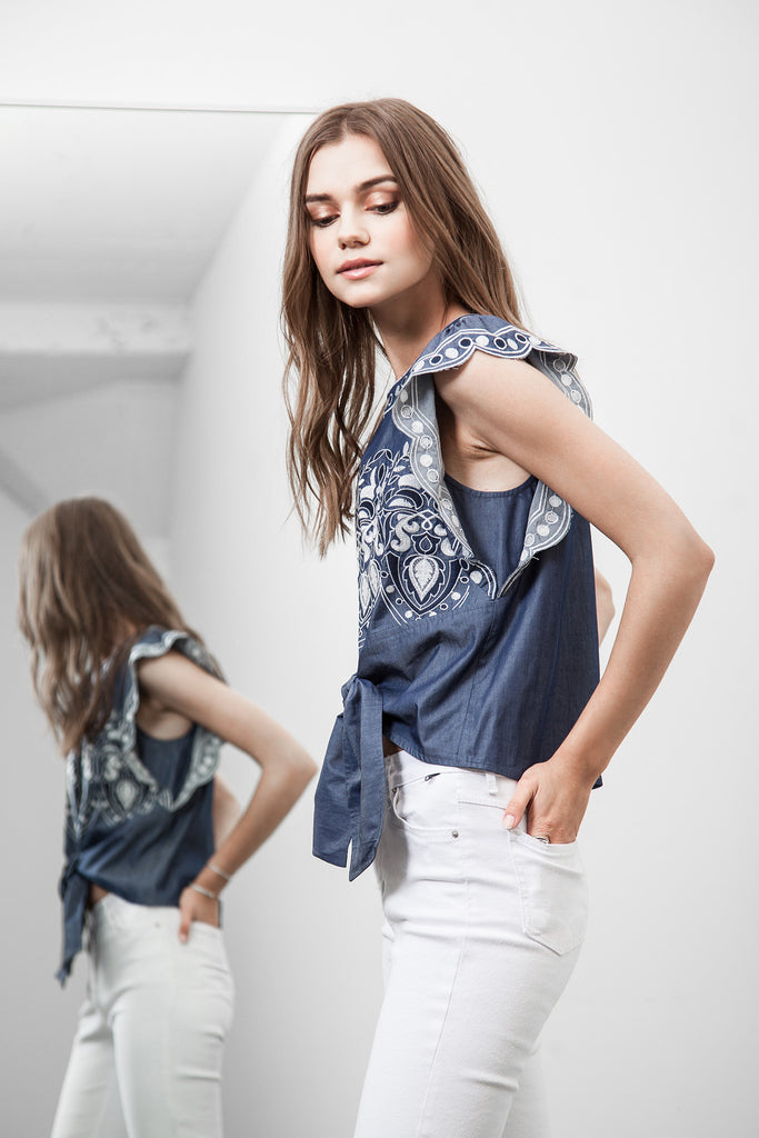 TIE WAIST EMBROIDERED CHAMBRAY TOP