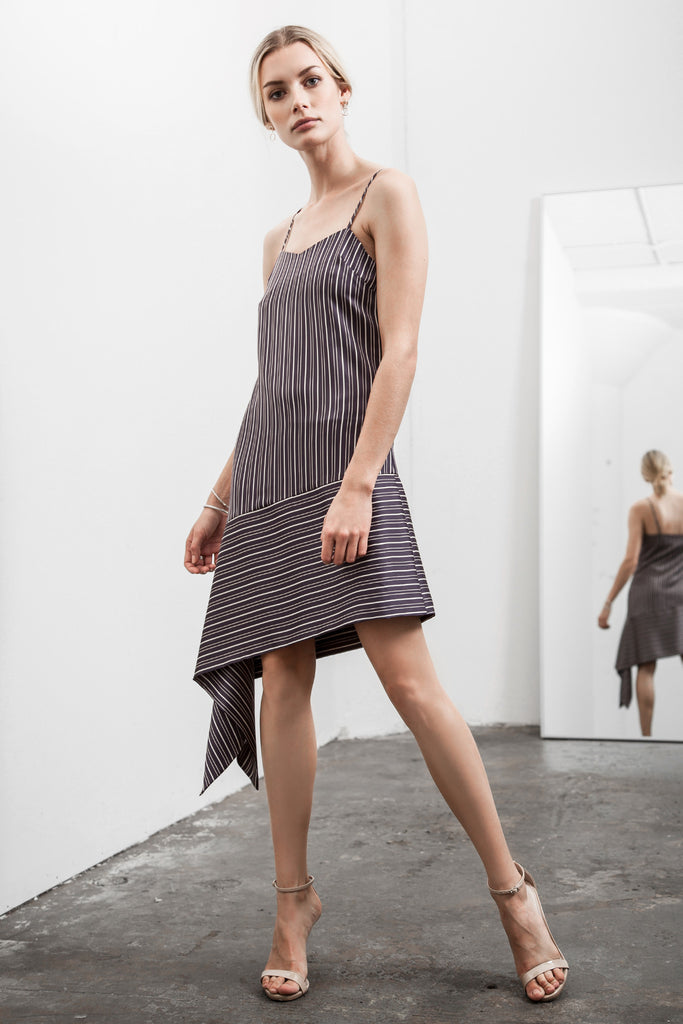 ASYMMETRICAL HEM STRIPE SLIP DRESS
