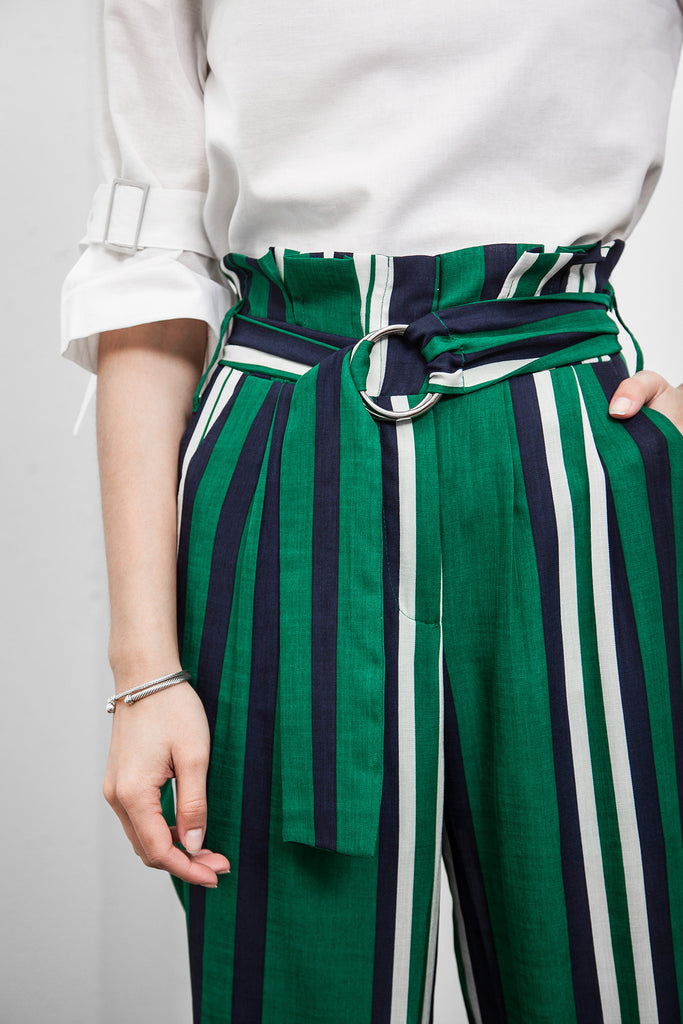 HIGH-WAISTED STRIPE TAPERED PANTS