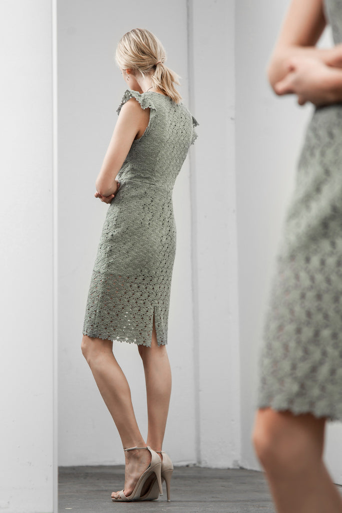 LOW NECK LACE SHEATH DRESS