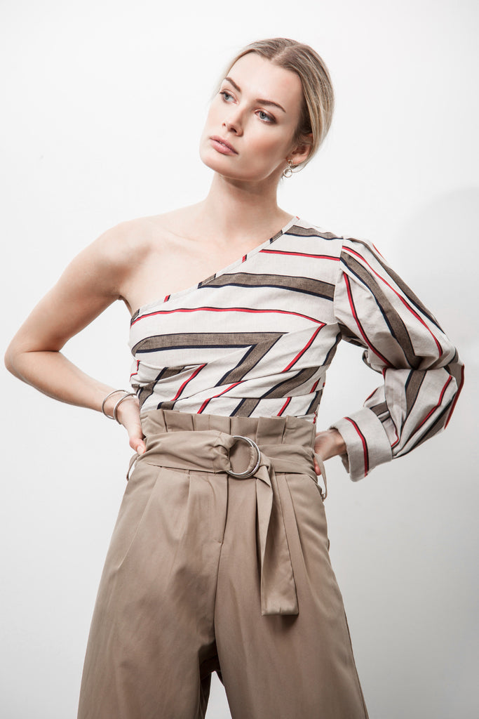 ONE SHOULDER MULTI STRIPE CROP TOP