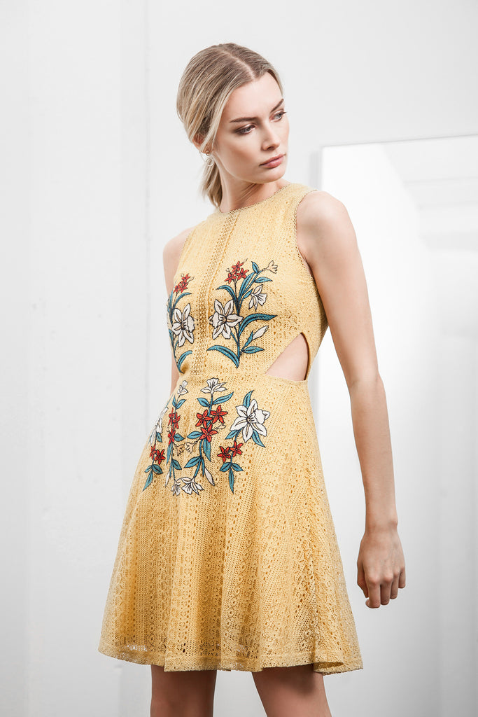 EMBROIDERED WAIST CUT OUT LACE DRESS