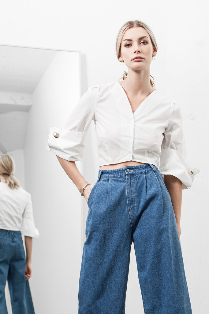 WIDE CUFF CROPPED SHIRT