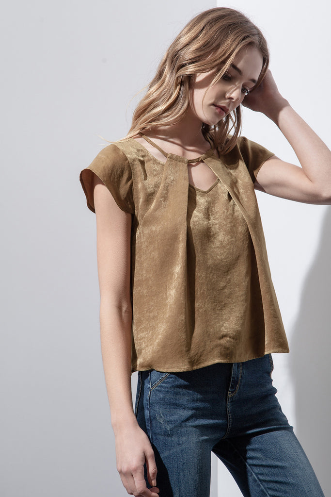 CAP SLEEVE CUT-OUT TOP