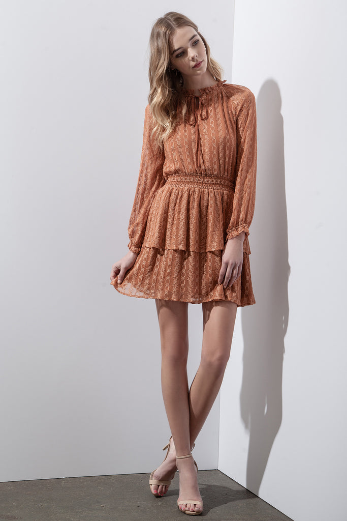 EMBROIDERED CHIFFON LAYERED DRESS