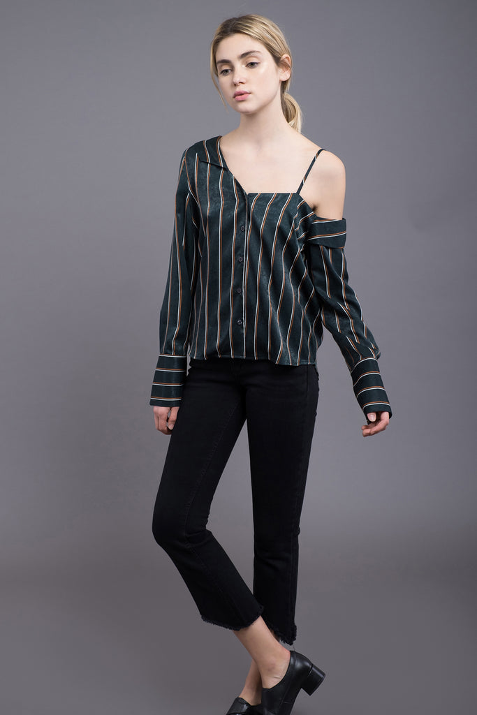 ASYMMETRIC STRIPE SHIRT
