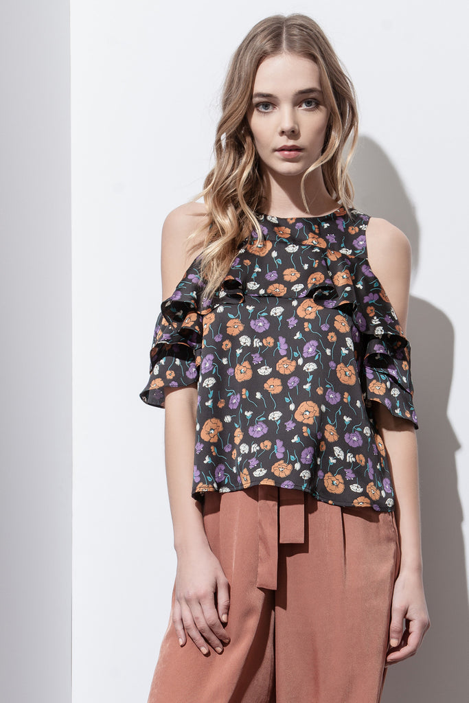 TIERED RUFFLE FLOWER PRINT COLD SHOULDER TOP