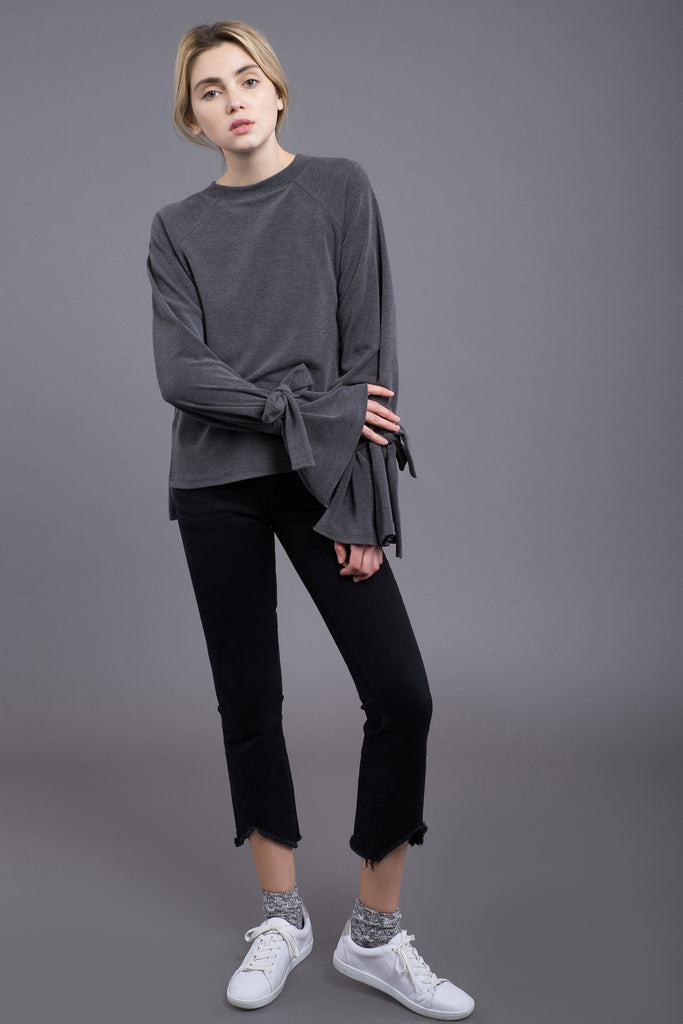 TIE SLEEVE STEP HEM TOP
