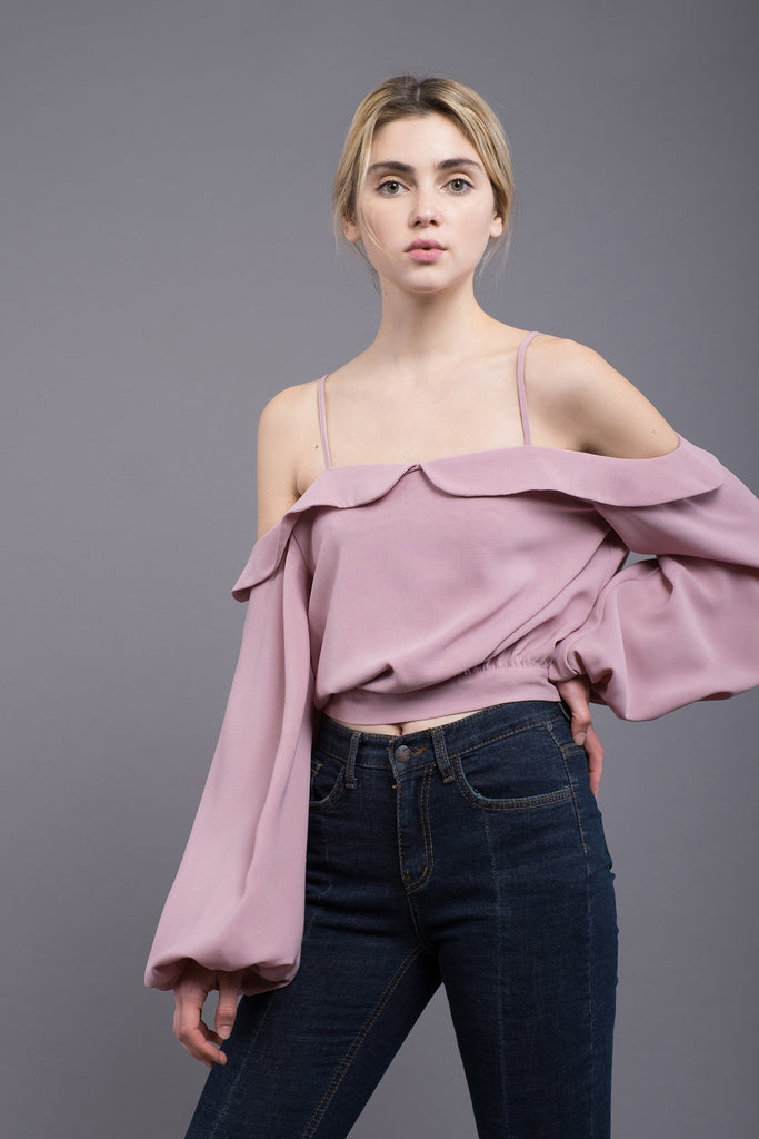 COLD SHOULDER BLOUSON SLEEVE TOP