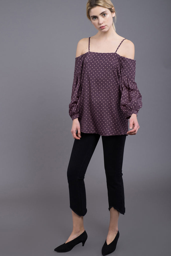 BLOUSON SLEEVE COLD SHOULDER TOP