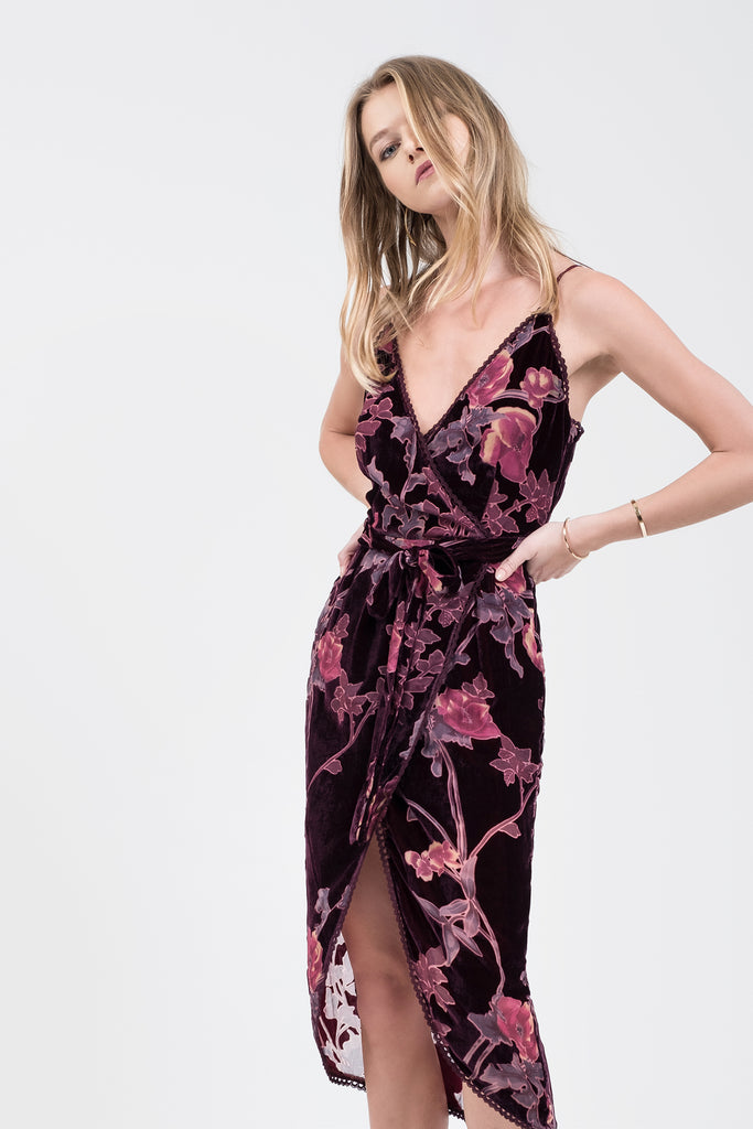 BURNOUT VELVET CAMI DRESS