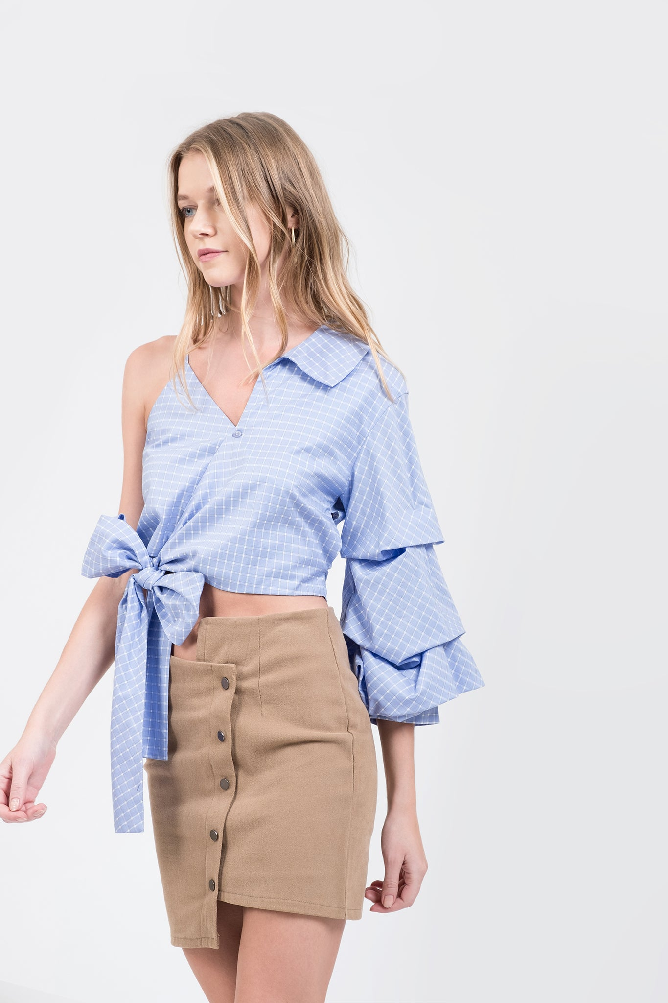 2ad4a0000c3 ONE SHOULDER TIE SLEEVE TOP - J.O.A.