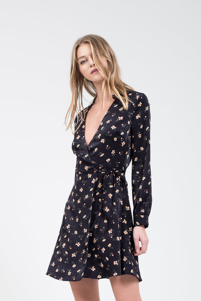 FLORAL PRINT WRAP MINI DRESS