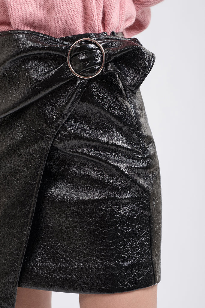 PLEATHER WRAP SKIRT