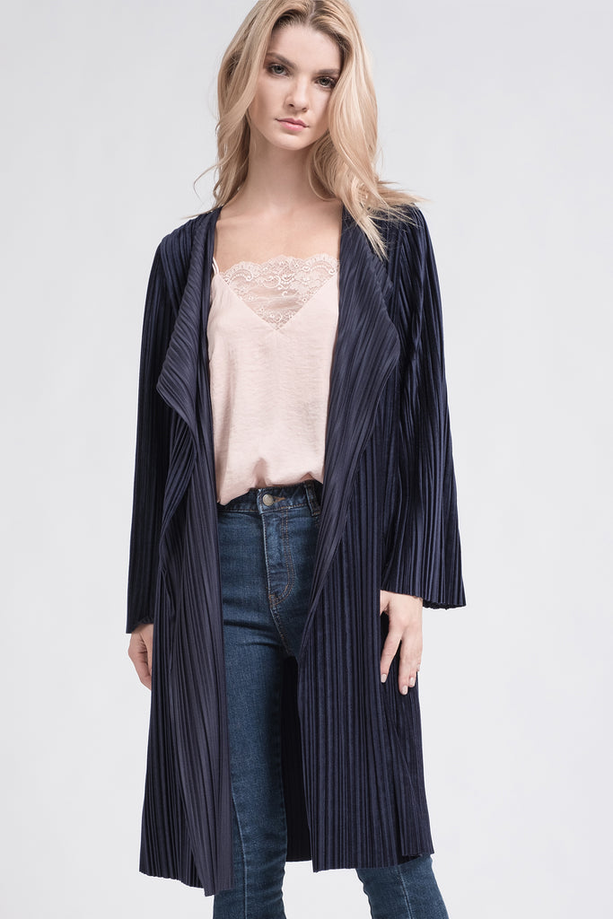 OPEN FRONT PLEATED JACKET