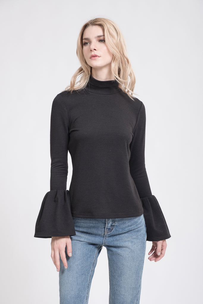 PLEATED SLEEVE MOCKNECK TOP