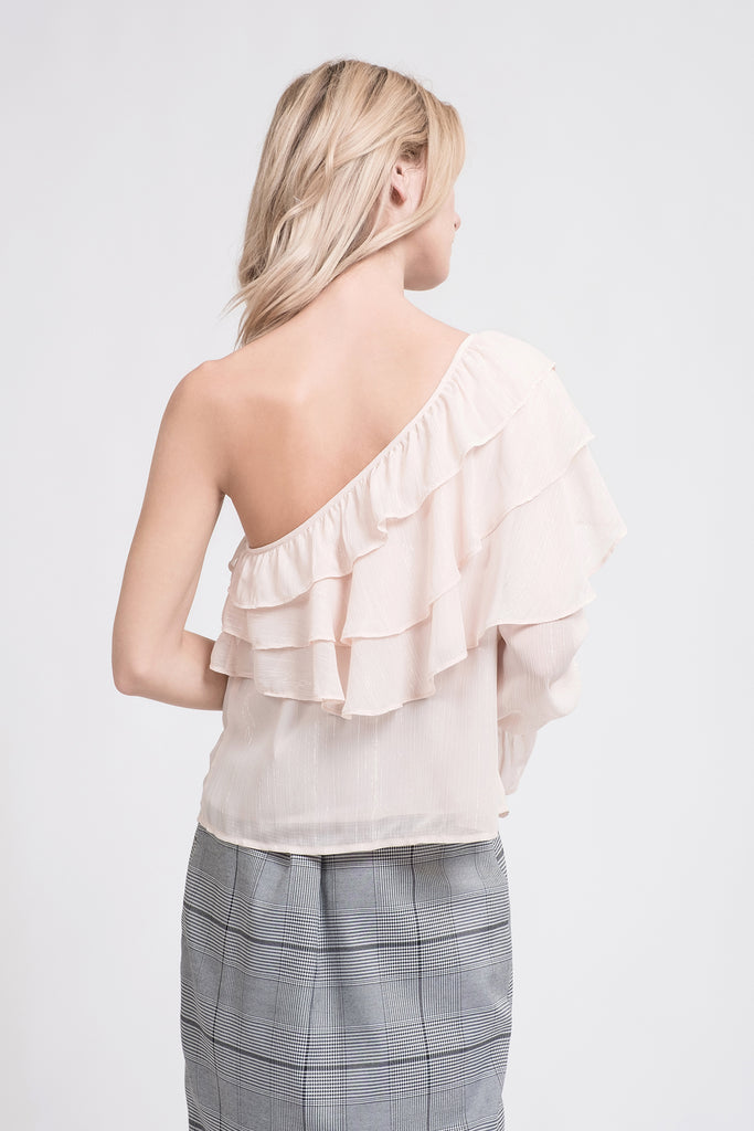 TIERED RUFFLE ONE SHOULDER TOP