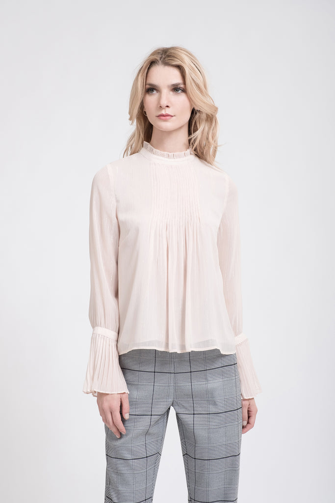 PLEATED NECK FLARE SLEEVE TOP