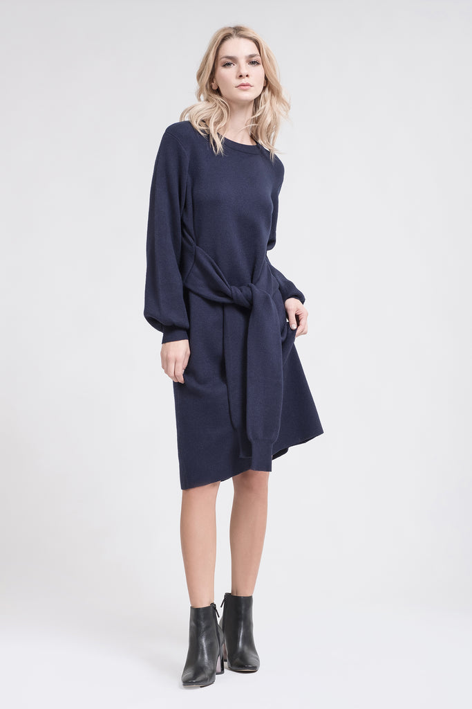 TIE WAIST MIDI SWEATER DRESS