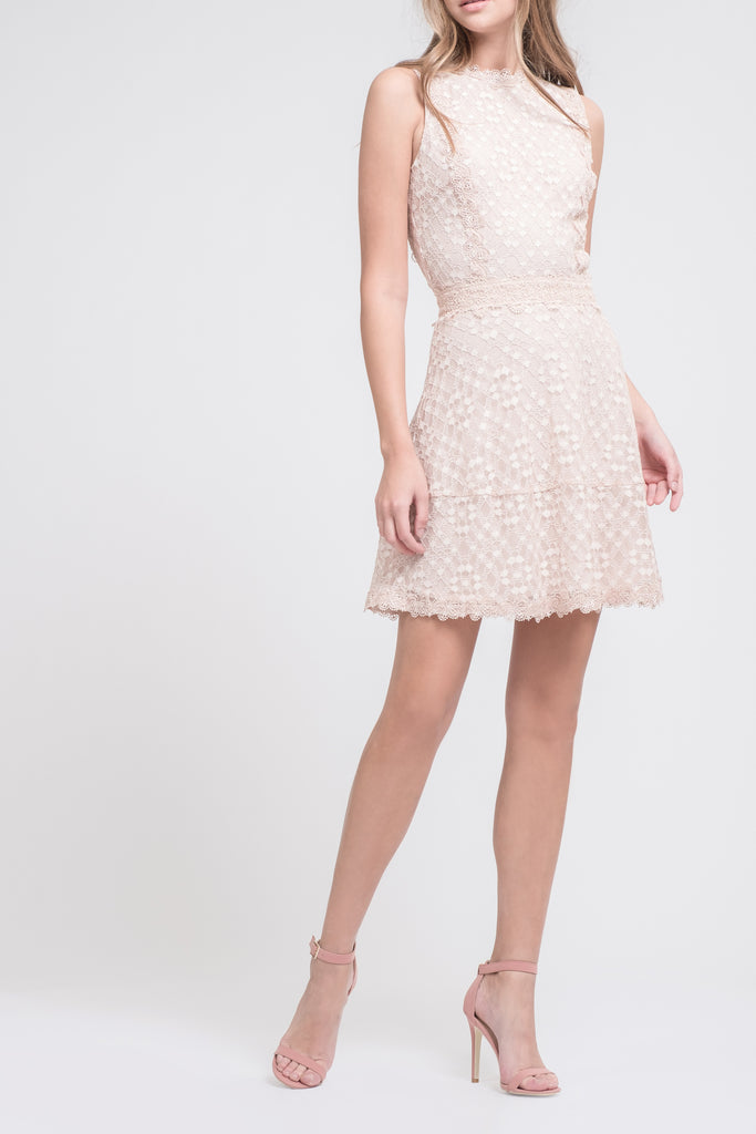 MOCK NECK FIT & FLARE LACE DRESS