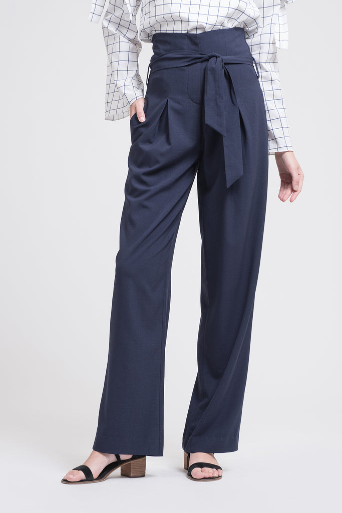 WIDE LEG PANT WITH TIE WAIST