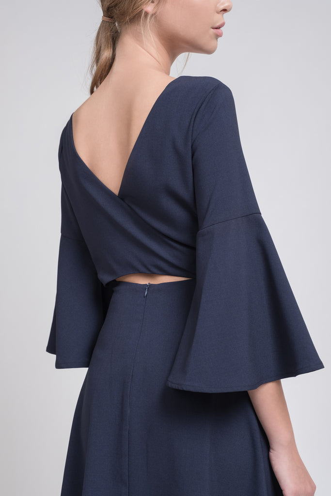 OPEN BACK FLARE SLEEVE DRESS WITH CUT OUT BACK