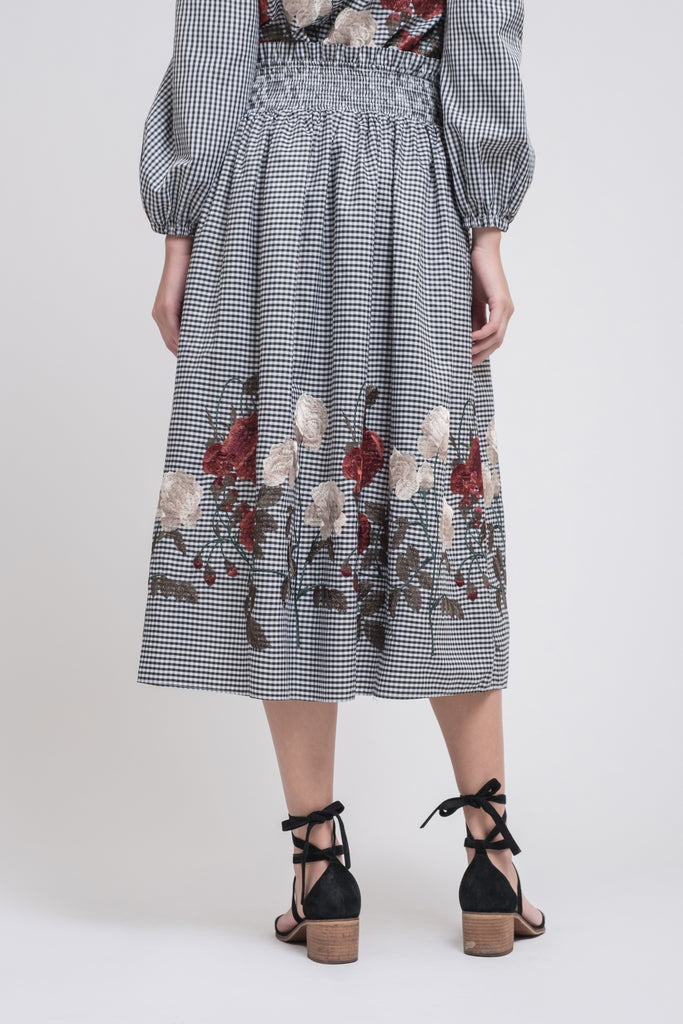 SMOCKED FULL MIDI SKIRT WITH EMBROIDERY