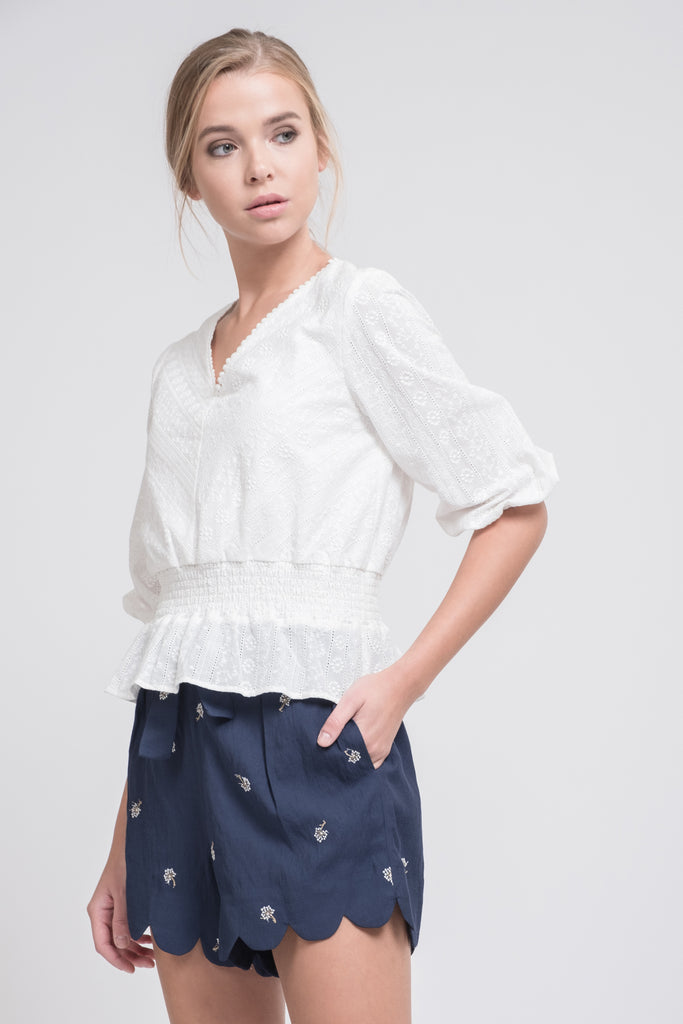RUFFLED SMOCK WAIST V NECK TOP