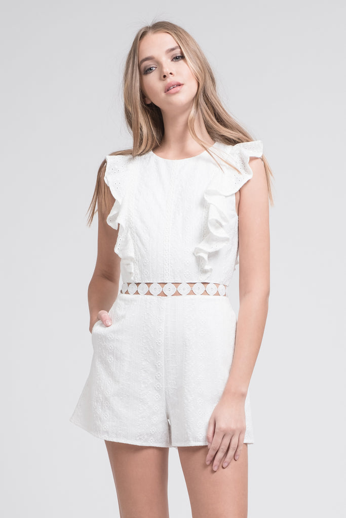 EYELET SLEEVELESS RUFFLED ROMPER WITH FLARED HEM