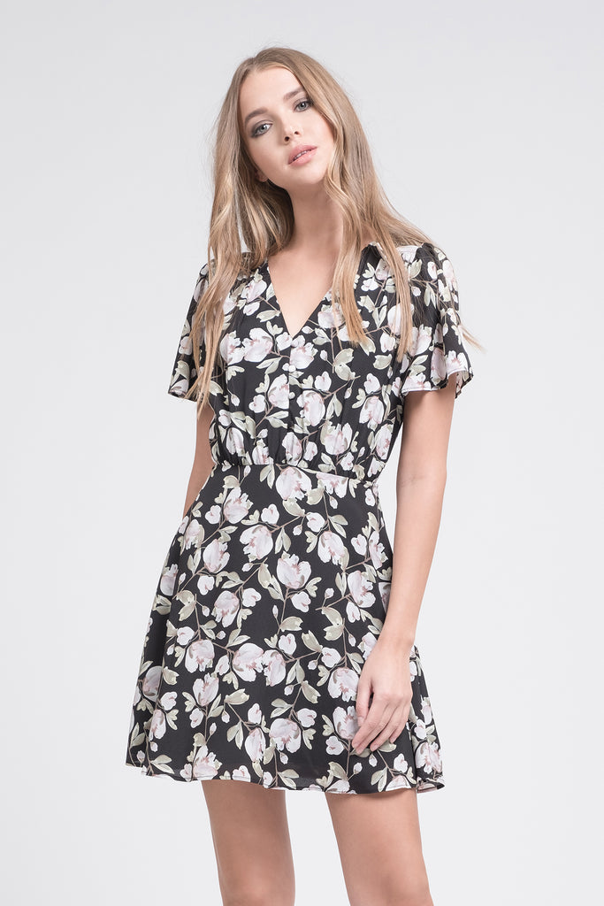FLORAL PRINTED BUTTON DOWN FIT & FLARE DRESS