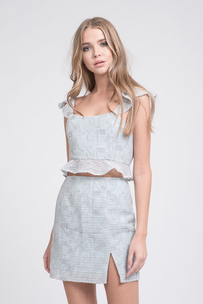 CROP TOP WITH RUFFLED HEM