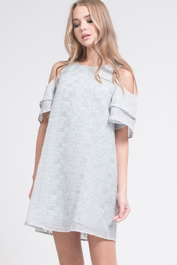 TIERED SLEEVE COLD SHOULDER DRESS