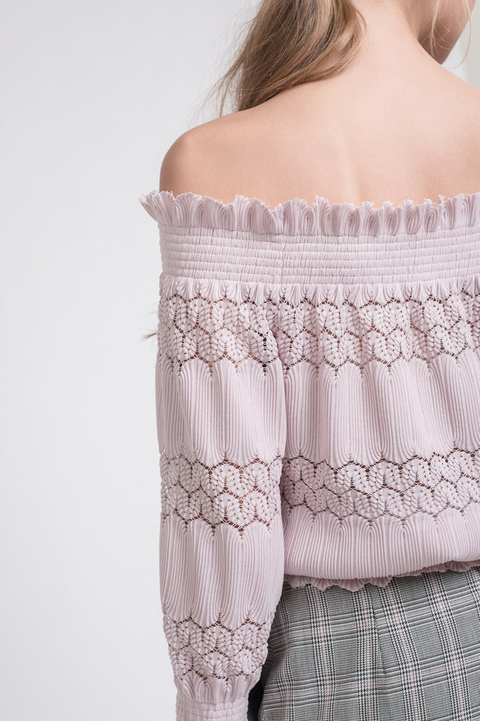 SMOCKED OFF THE SHOULDER KNIT LACE TOP