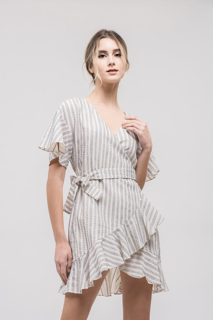 FLARED WRAP DRESS WITH RUFFLED HEM