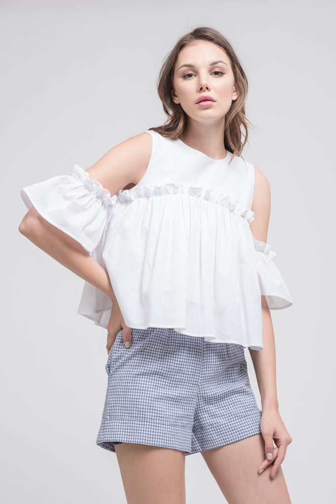 COLD SHOULDER TOP WITH RUFFLED SLEEVES