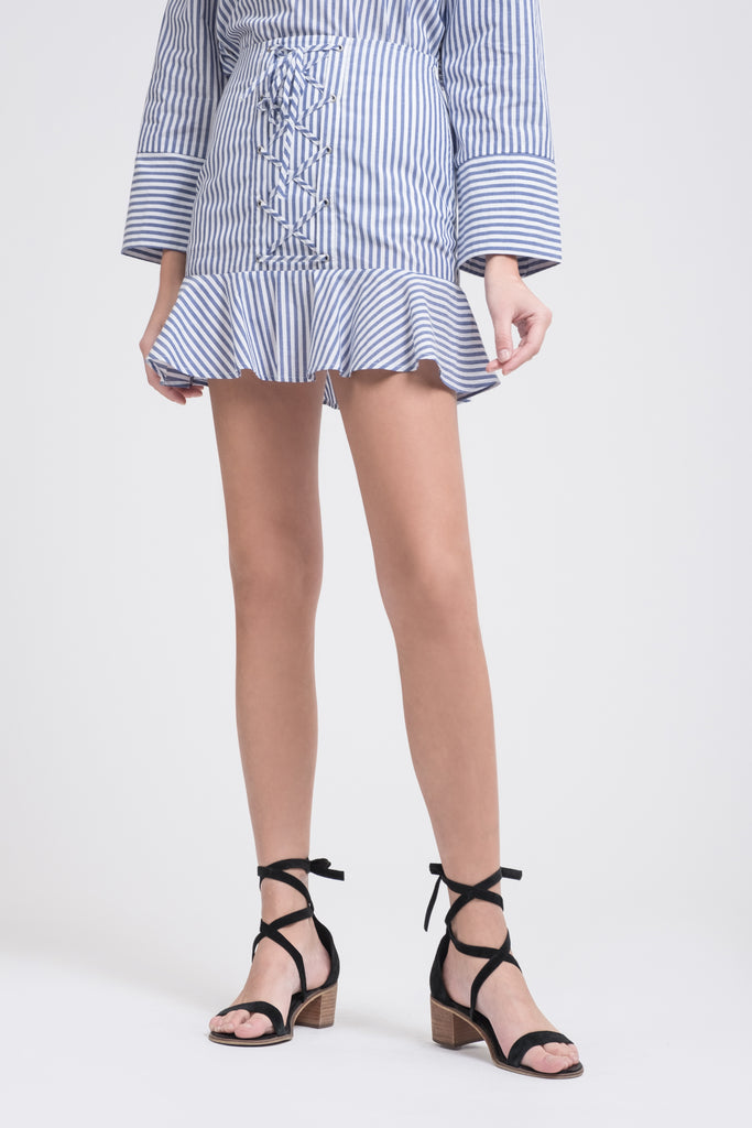 LACE UP FRONT MINI SKIRT