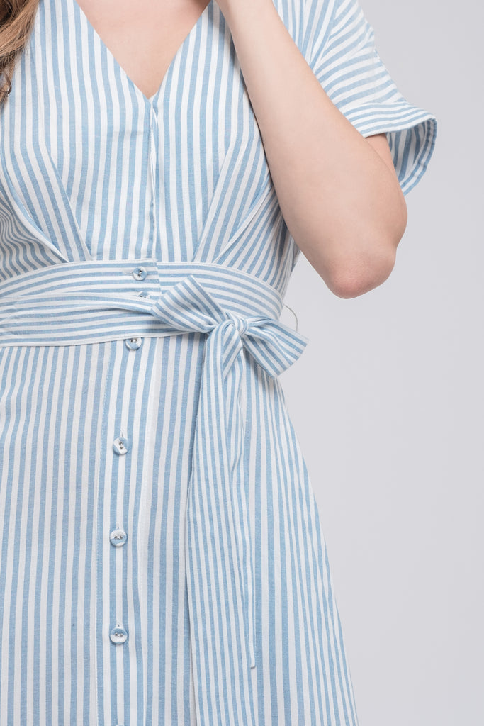 BUTTON DOWN WRAP MIDI DRESS