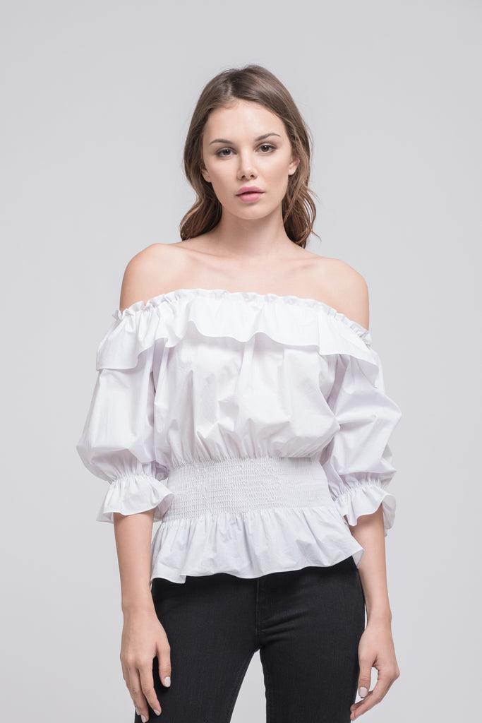 OFF THE SHOULDER TOP WITH SMOCKED WAIST