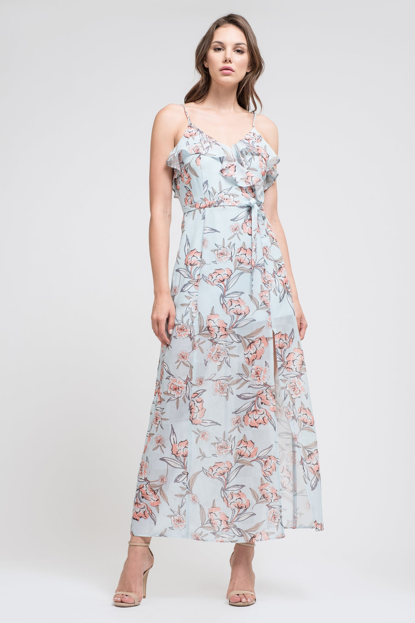 FLORAL PRINTED MAXI DRESS HIGH SLIT - J.O.A.