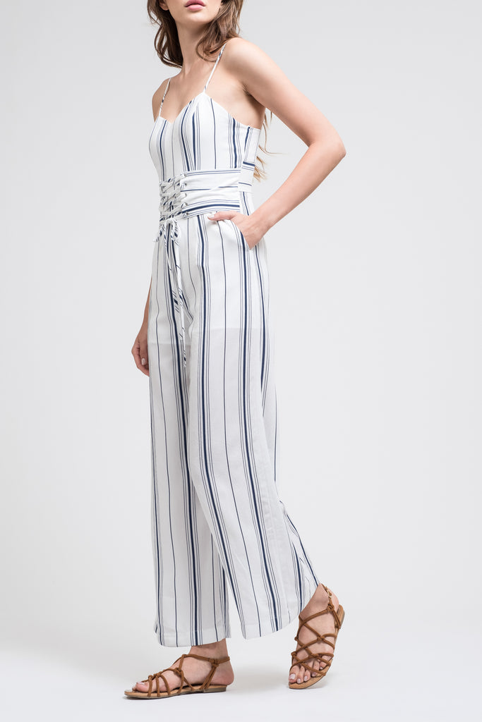 SLEEVELESS JUMPSUIT WITH CORSET WAIST