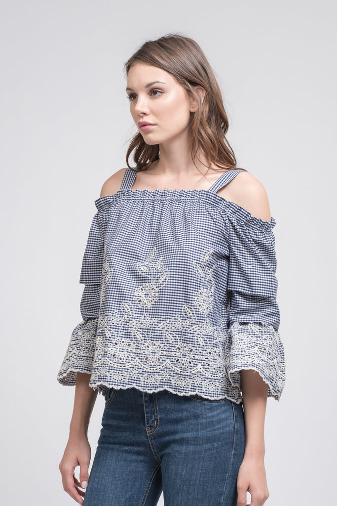 EMBROIDERED COLD SHOUDLER TOP WITH TIERED SLEEVES