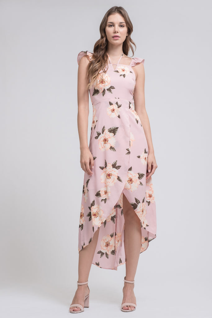 OVERLAP HIGH-LOW MAXI DRESS